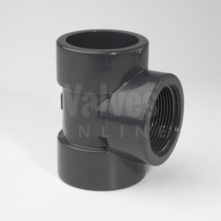 PVC 90° Plain Metric x Threaded Tee
