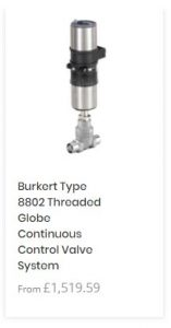 Burkert Type 8802 Threaded Globe Continuous Control Valve System