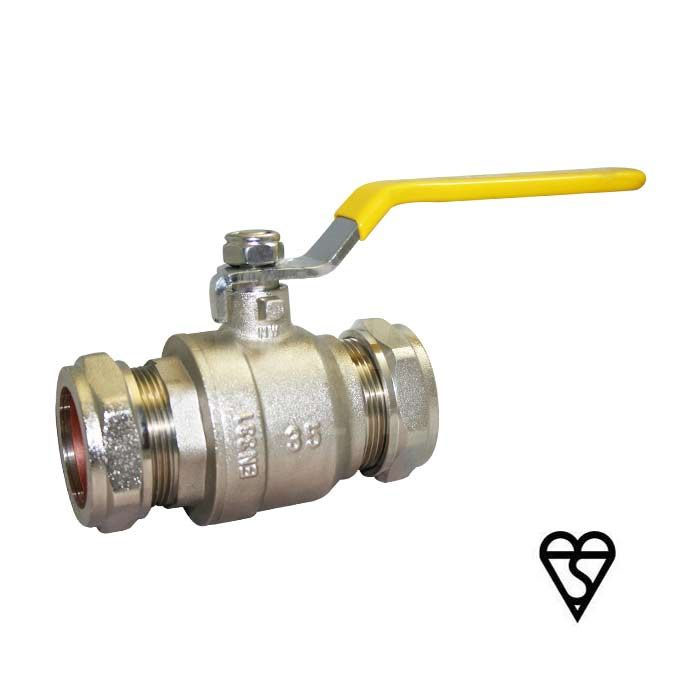 Gas Approved Compression End Brass Ball Valve
